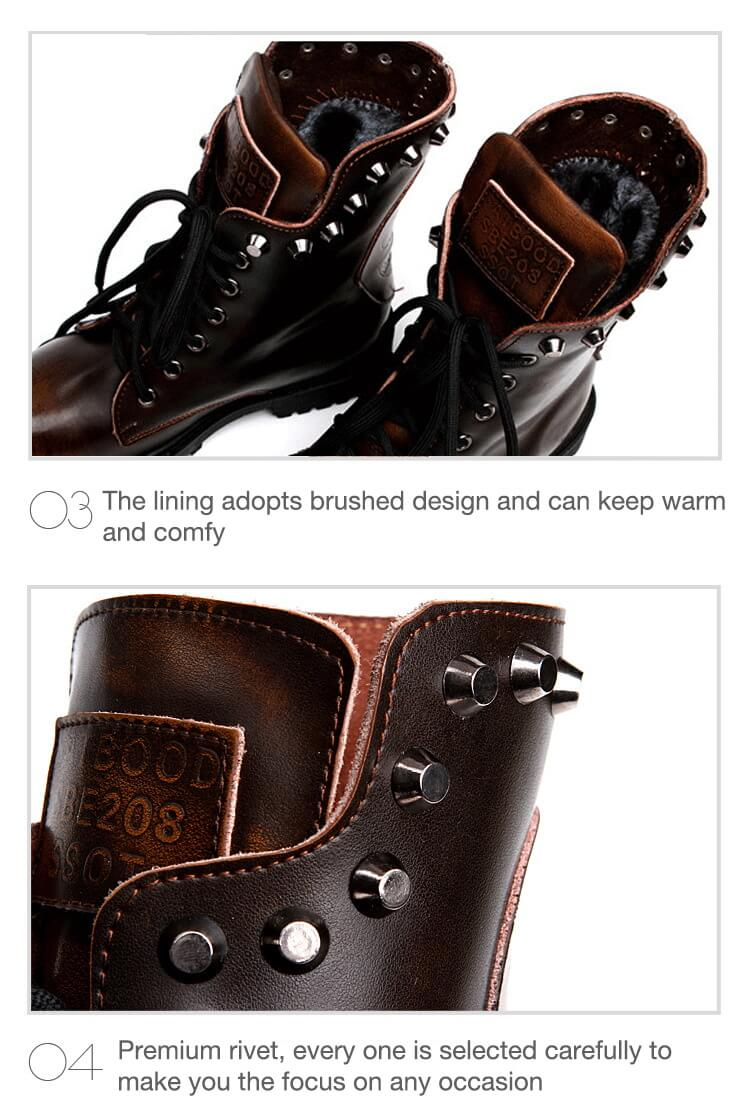 Fashion Brushed Leather Martin Boots Rivet Boots-6