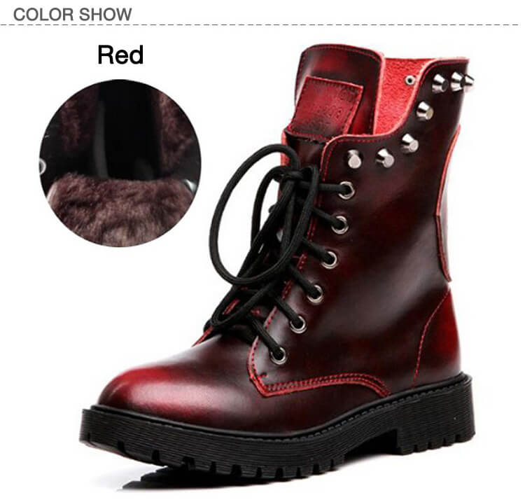Fashion Brushed Leather Martin Boots Rivet Boots-8