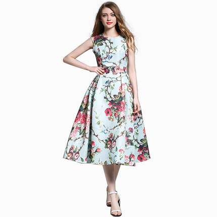 High Quality Women's Cute Vintage Casual Sleeveless Flower Floral Print Dress