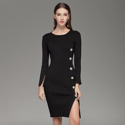 Elegant Button up Split Knitted Bodycon Dress Women Black Long Sleeve Sexy Party Dresses