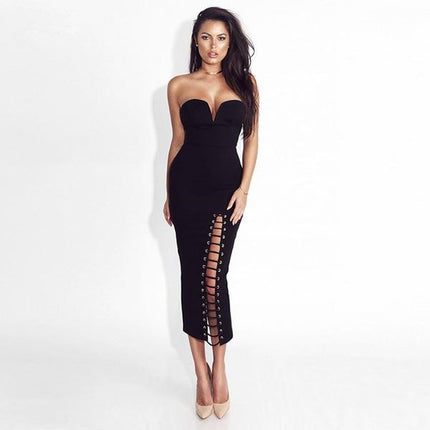 New Arrival Women Midi Dress Black Strapless Side Lace Up Evening Party Dresses