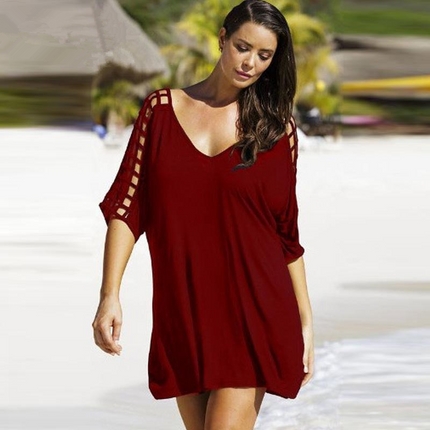 Summer Dresses Sexy V-neck Big Size Women Beach Dress Casual Mini Dress Plus Size Women Clothing Vestidos