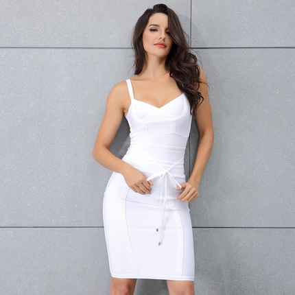 Chic Bandage Dress Sexy Celebrity Party Dress Women Spaghetti Strap Night Out Bodycon Dress Vestidos