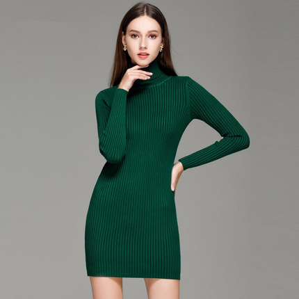 Women Sweater Dresses Slim Turtleneck Sexy Bodycon Solid Color Robe Knitted Dress