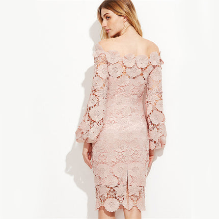 Elegant Dress Women Pink Embroidered Lace Overlay Long Sleeve Off The Shoulder  Knee Length Dress