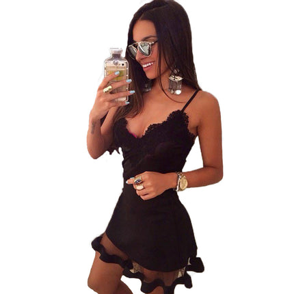 Lace Dress V Cami Sexy Bodycon mujer Casual office Midi Dresses