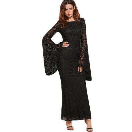 Women Dresses New Arrival Slim Pencil Long Maxi Dress Black Oversized Bell Sleeve Floral Lace Dress