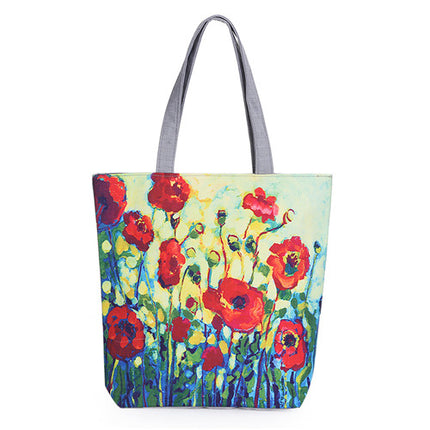 Floral Printed Canvas Tote Female Single Shopping Bags Large Capacity Women Canvas Beach Bags