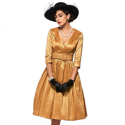 Vintage Dress Women Golden Sashes A-Line Dress Little Party 1950s Dresses Retro Style Vintage Dresses