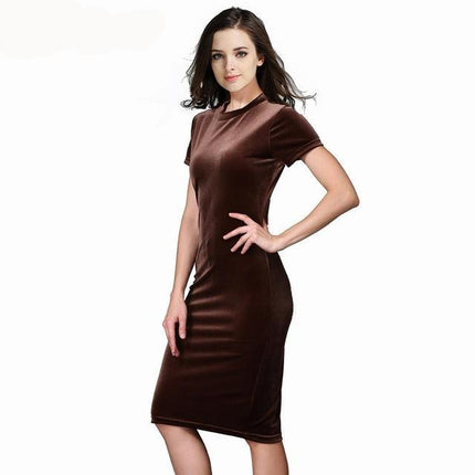 Women Brown Velvet Sheath Dresses Summer Ladies Round Neck Short Sleeve Knee Length Elegant Pencil Dress