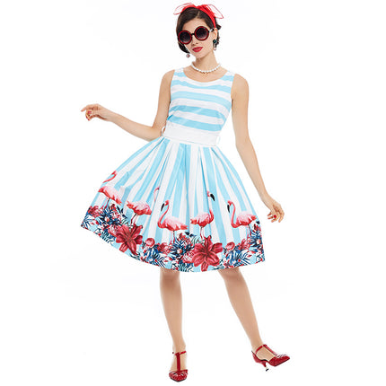 Women Pin Up Vintage Dress Floral Print Rockabilly Bow Belt Dresses Blue White Stripe Summer A Line Vintage Dresses