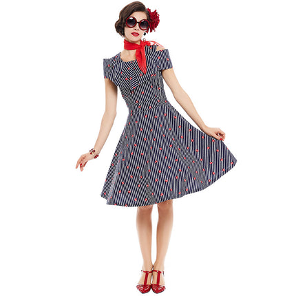 Women Pin Up Vintage Dress Striped Ruffled Cute Dresses Off Shoulder Red Lip Vintage Dresses