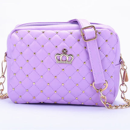 Fashion Women Messenger Bags Rivet Chain Shoulder Bag High Quality PU Leather Crossbody Quiled Crown bags