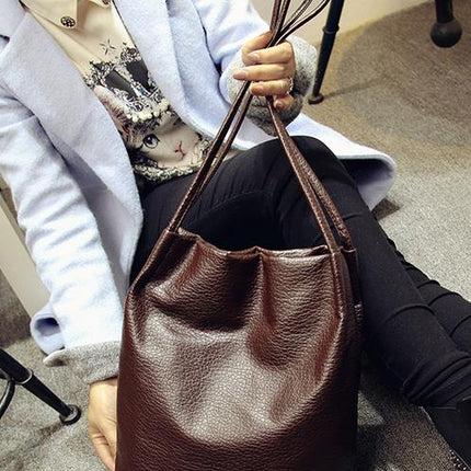 Women PU Leather Handbags Black Bucket Shoulder Bags Crossbody Bags Large Capacity Shopping Bag