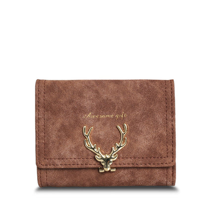 Women PU Leather Wallet Vintage Tri-Folds Luxury Cash  Purse Small Clutch coin purses with Deer