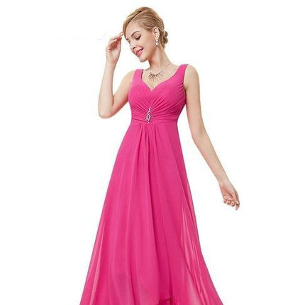 Formal Evening Dresses V Neck Rhinestones Long Evening Dress