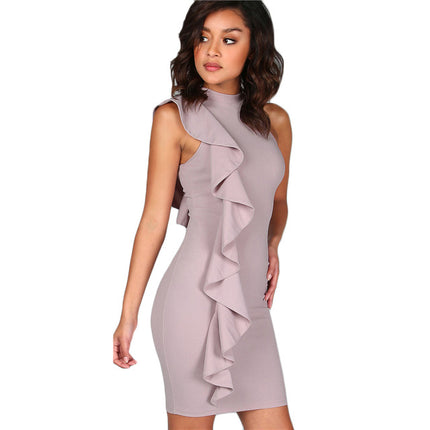 Lavender Summer Dress Women One Sided Exaggerated Frill Sexy Bodycon Dresses Fashion High Neck Elegant Party Dress