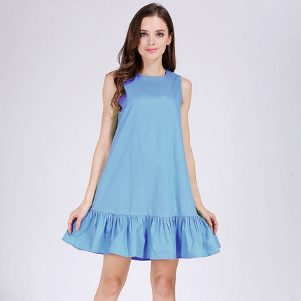 100% cotton Sleeveless Sexy Ruffles Women Dress Summer Casual A Line Party beach dress