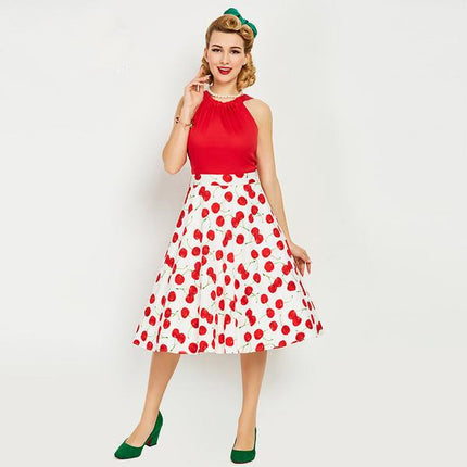 Vintage Dress 1950s Style Spring Summer Cherry Print Red Women Party Dress