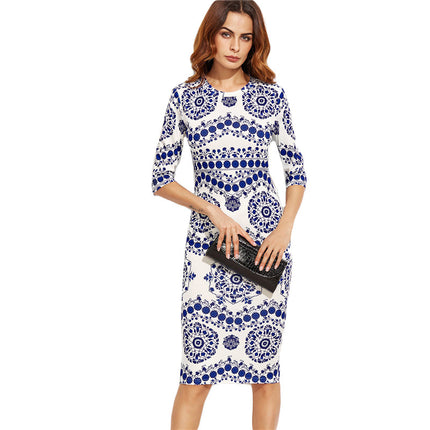 Blue And White Porcelain Print Slim Pencil Dress Office Ladies Work Wear Round Neck 3/4 Sleeve Midi Dress