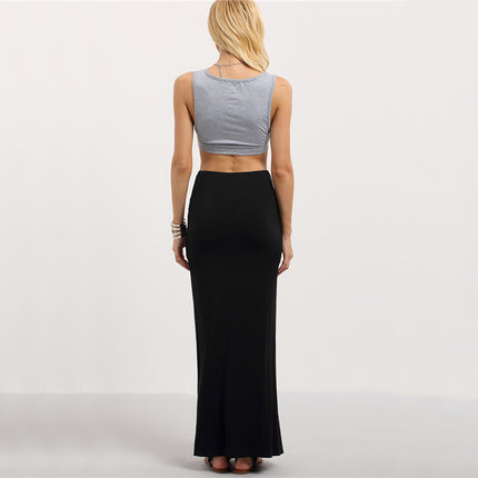 Women Black Split Maxi Skirts New Arrival Sexy Summer Style Women Fitness Casual Long Skirt