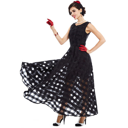 Maxi Summer Dress Black Plaid Women Long Dress Sleeveless Tank A-line Long Party Girl Bohemian Dress
