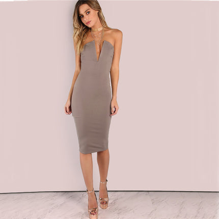 Sexy Dress Women Plunging Bust Bandeau Bodycon Midi Bodycon Dresses New Fashion Strapless Elegant Dress