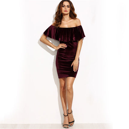 Ruffle Off The Shoulder Velvet Bodycon Dress Sexy Women Short Sleeve Club Wear Mini Dress Burgundy Party Dress
