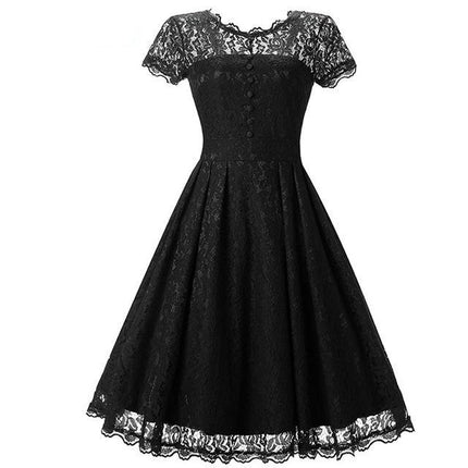 Lace Dress Female Robe Casual  Rockabilly Short Cap Sleeve V-Back Swing Summer Dresses