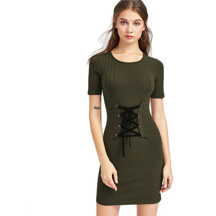 Rib Knit Lace Up Corset Belt Bodycon Dress Army Green Slim Sexy Mini Dress Summer Ladies Office Dress