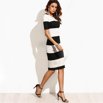 Black And White Contrast Wide Stripe Pencil Dress Women Elegant Short Sleeve O Neck Knee Length Dress