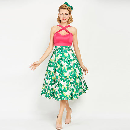 Women Vintage Dress 1950s Summer Print Rockabilly Patchwork Sexy Dress Sleeveless Female Vintage Green Dresses