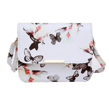 Luxury Women Bags Design Small Satchel Women bag Flower Butterfly Printed PU Leather Shoulder Bag Retro Crossbody Bag