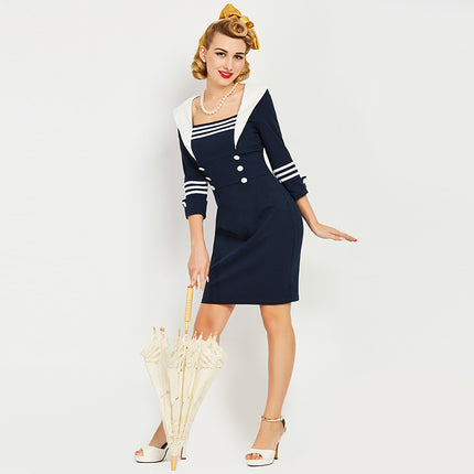 Women Luxury Bodycon Dress Vintage Nautical Style Patchwork Button Bodycon Dresses Navy Blue Pencil Bodycon Dresses