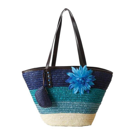 Knitted Straw bag Summer flower Bohemia women's handbags color stripes beach bag shoulder bags