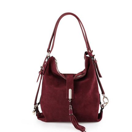 Women Split Suede Shoulder Bag Leisure Nubuck Casual Handbag Messenger Top-handle bags