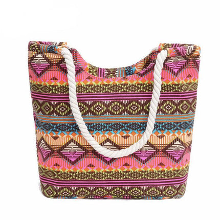 Women Handbag Canvas Floral Printing Shoulder Beach Bags Casual Female Tote Shopping Bag