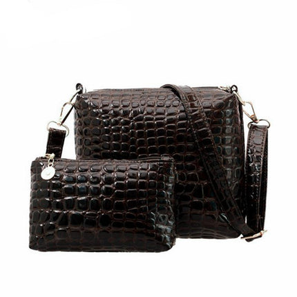 2PCS Bag Women Messenger Shoulder Bag Crocodile PU Leather Casual Crossbody Quilted Bags Set