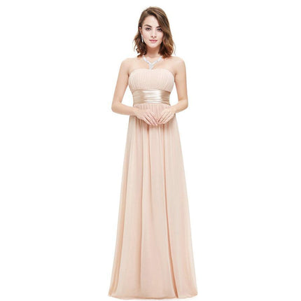 Long Evening Dresses Strapless Ruched Bust Black Chiffon Evening Dresses Style