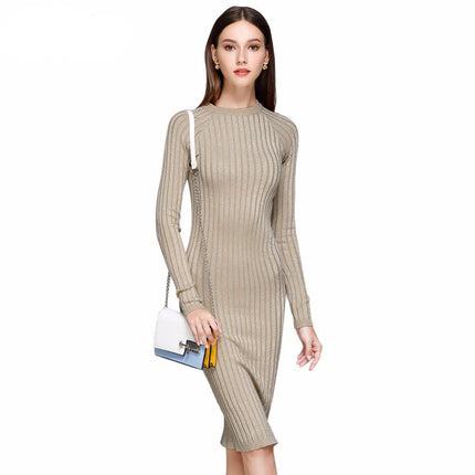 Women Knitted Dress Long Sexy Bodycon Dresses Elastic Slim Twinkle Sweater Dress