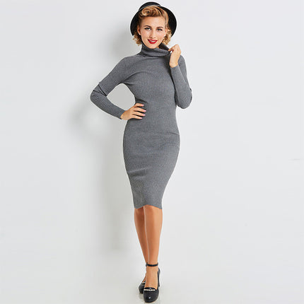 Sweater Bodycon Dress Mid-calf Gray Turtleneck Sheath Pullover Women Sexy Fashion Female Knitted Bodycon Dress