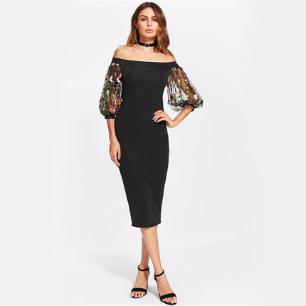 Bardot Summer Party Dress Black Off The Shoulder Women Elegant Midi Dress Floral Embroidery Mesh Puff Sleeve Dress