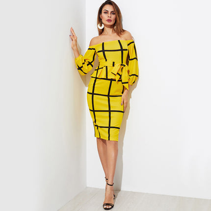Plaid OL Peplum Dress Elegant Self Tie Waist Women Yellow Midi Dress Fashion Empire Off Shoulder Work Dress
