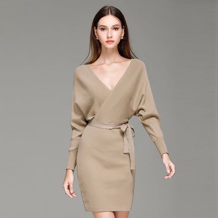 Fashion Women Mini Dresses Solid V-Neck Long Batwing Sleeve Elegant Knitted Sweater Dress With Belt