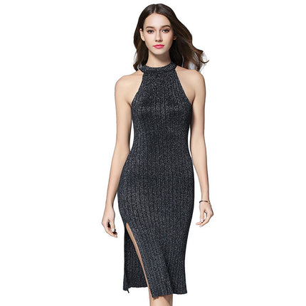 New Women Dress Striped Bodycon Halter Solid Knitted Dress Women Off Shoulder Sexy Slit Sweater Dress
