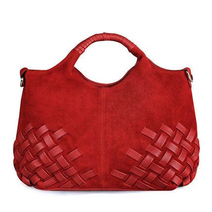 Women Weave Suede Split PU Leather Handbag Leisure Casual Crossbody Shoulder Bag