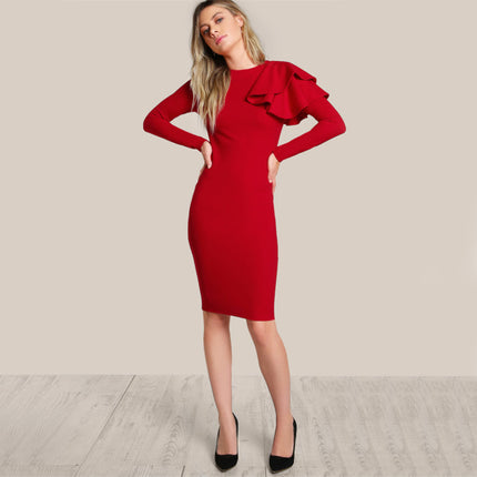 Red OL Elegant Bodycon Dress Women One Side Tiered Ruffle Cute Long Sleeve Dress Autumn New O Neck Sexy Midi Dress