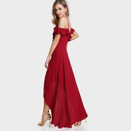 Sweetheart Sexy Red Party Dress Cute Ruffle Women Cold Shoulder Summer Maxi Dress New Elegant Wrap Sexy Slip Dress