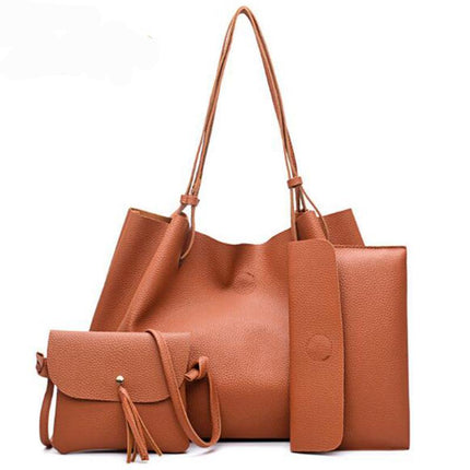 Tassel Bag 4 PCS Set Composite Bag PU Leather Shoulder Handbag Casual Totes Large Messenger Bag