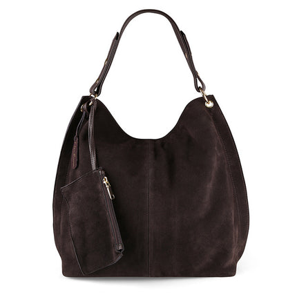 Women Split Suede PU Leather Hobo Bag Leisure Large Shoulder Bags With Wallet Travel Casual Handbag